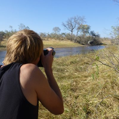 Andy photograhing elephant in Savuti, Botswana
