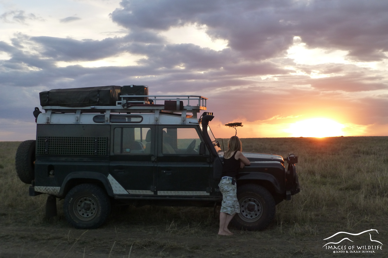Sarah soaking up the African sunset, Maasai Mara, Kenya